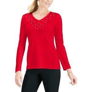 NWT Karen Scott Red Pearl Pull-over Sweater
